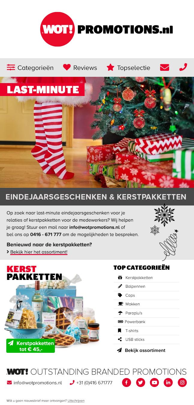 Nieuwsbrief december Last minute eindejaarsgeschenken & kerstpakketten